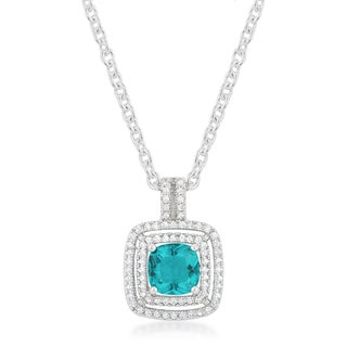Kate Bissett White Brass and Aqua Cubic Zirconia Halo Stud Pendant with 18-inch Chain