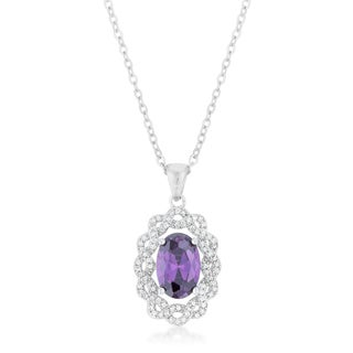 Kate Bissett White Brass Amethyst Oval Drop Necklace