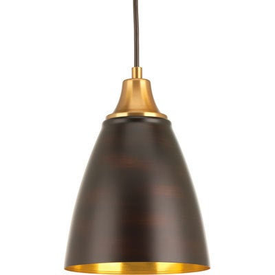 Progress Lighting Pure Brown Steel 1-light LED Pendant Fixture