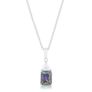 Kate Bissett Classic Mystic Sterling Silver Cubic Zirconia Drop Necklace