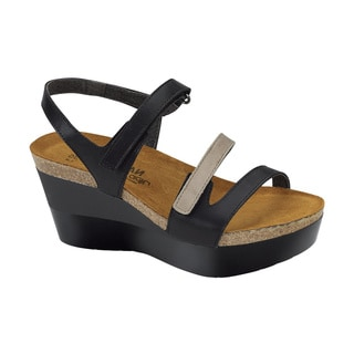 Naot Women's Canaan Black Leather/Suede/Polyurethane Comfort Wedge