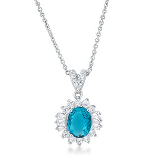 Kate Bissett Chrisalee 3.2-carat Aqua Cubic Zirconia 18-inch Classic Drop Necklace