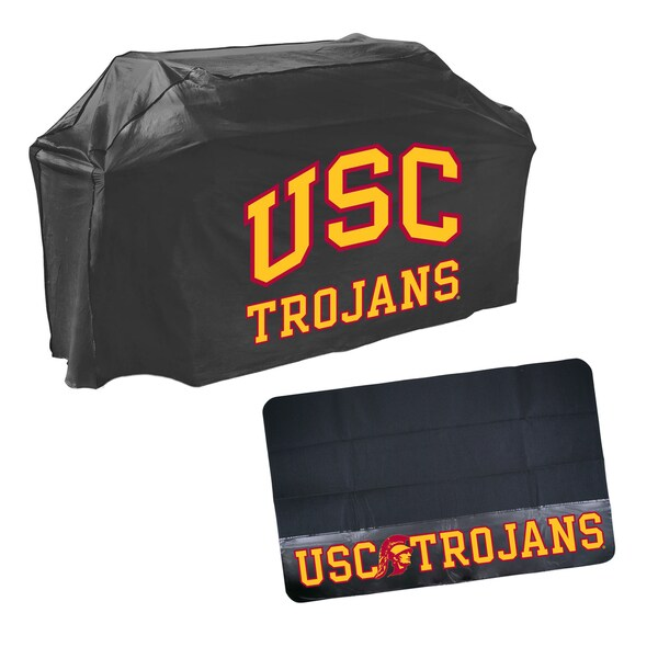USC Trojans NCAA Grill Cover and Mat Set