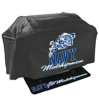Navy Midshipmen NCAA Grill Cover and Grill Mat Set