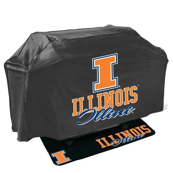 Fighting Illini NCAA Grill Cover and Grill Mat Set