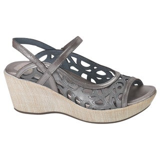 Naot Women's Deluxe Silver Rubber/Suede/Leather Comfort Wedge