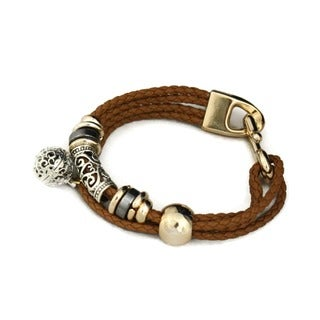 Brown Braided Gold and Silver Essential Oil Diffuser Bracelet