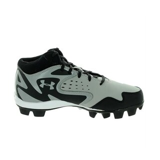 Under Armour Boy's Leadoff Mid RM Black/Grey Synthetic Molded Baseball Cleats (3 options available)
