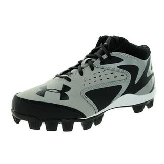 759b57c34 Under Armour Boy s Leadoff Mid RM Black Grey Synthetic Molded Baseball  Cleats