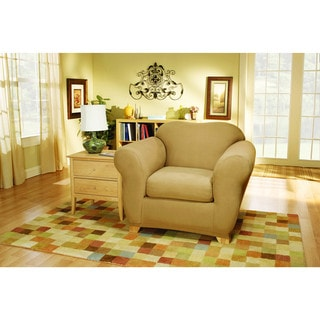 Sure Fit Stretch Suede Bench Cushion Two Piece Chair Slipcover