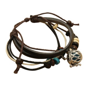 Wooden Bead Black Leather Essential Oil Diffuser Bracelet