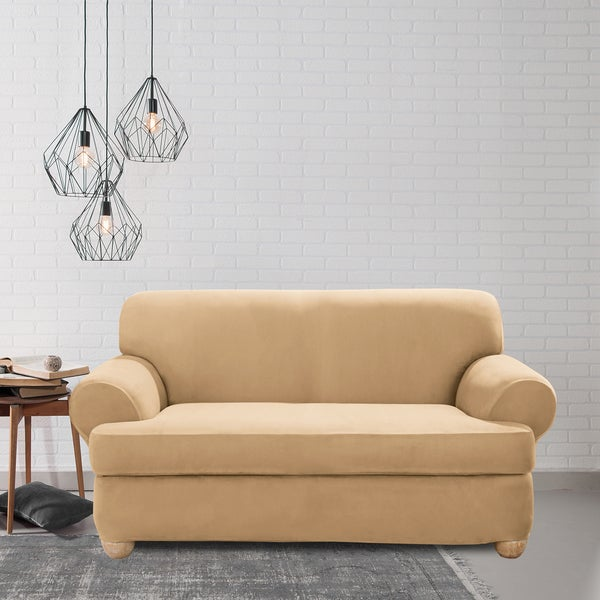 Sure Fit Stretch Suede T-Cushion Two Piece Loveseat Slipcover. Opens flyout.