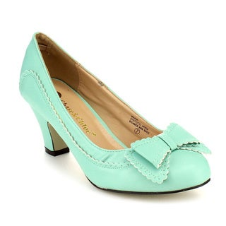 Beston Women's CC04 Mint Faux Leather Bow Tie Mid Heel Dress Pumps
