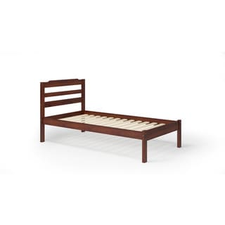 Manhattan Comfort Hayden Brown and White Pine Twin Bed Frame