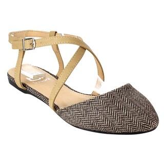 Betani Women's FB66 Beige Faux-leather Classic Twill Crisscross Thin-strap Ballet Flats
