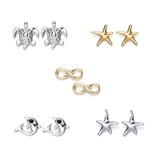 5 Piece Nautical Sea Life Stud Earring Set Dolphin Tortoise Starfish Nautical