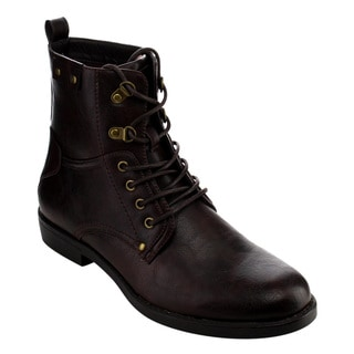 Arider Men's Black Faux Leather Combat Boots