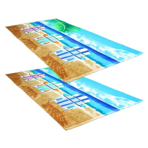 """J & M Home Fashions Beach Chairs 30""""""""x60"""""""" Fiber Reactive Beach Towels (set of 2)"""