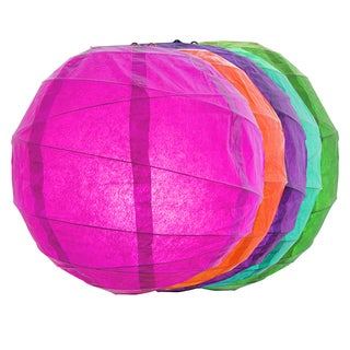 Multicolor 12-inch Criss Cross Paper Lanterns (Set of 5)