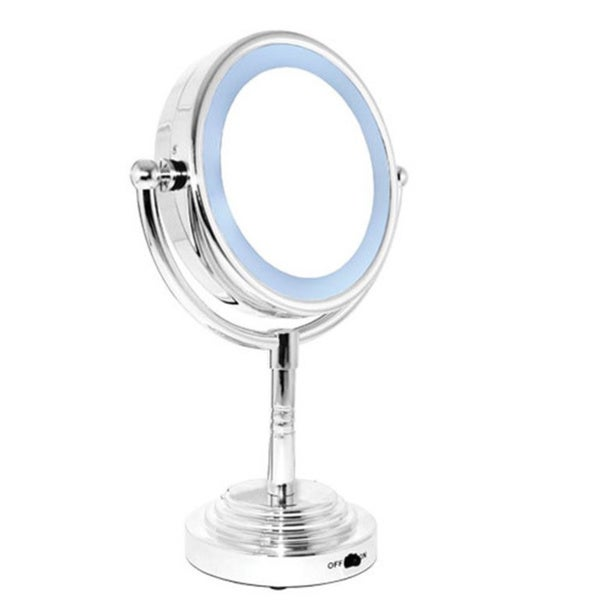 Rucci 5x/1x Magnification Round Double-sided LED Lighted Mirror