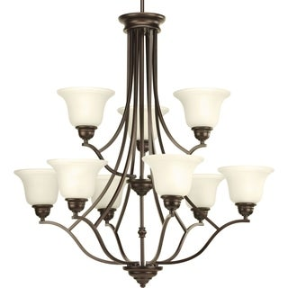 Progress Lighting P4611-20 Spirit Bronze Steel/Porcelain 9-light 2-tier Chandelier