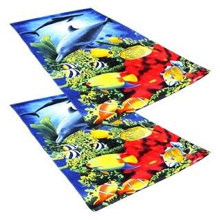 J & M Home Fashions Dolphin Reef 40x70 Fiber Reactive Beach Towels (set of 2)