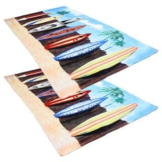 "J & M Home Fashions Surfs Up 40""""x70"""" Fiber Reactive Beach Towels (set of 2)"