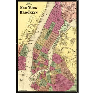 'Plan of New York and Brooklyn 1868' 24-inch x 36-inch Wall Plaque