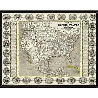 Map of the United States & Mexico 1846 30-inch x 24-inch Wall Plaque