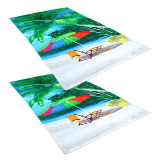"J & M Home Fashions Beach Umbrella 40""""x70"""" Fiber Reactive Beach Towels (set of 2)"
