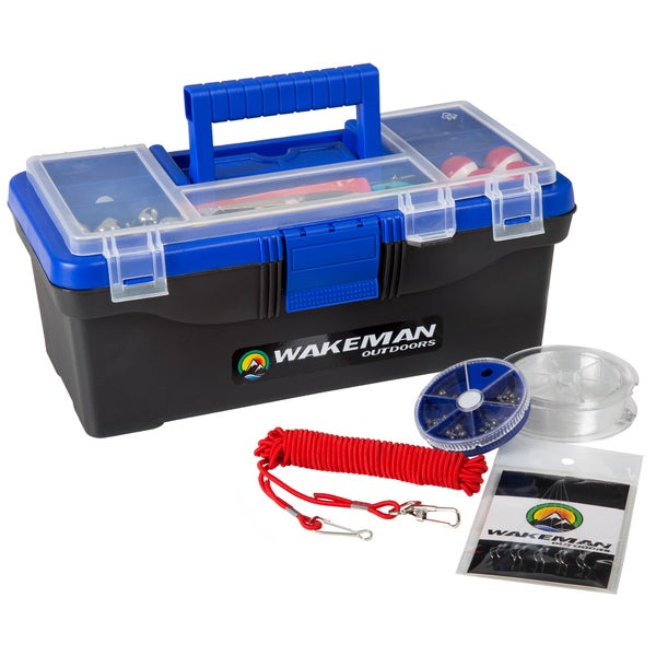 Wakeman Fishing Single Tray Tackle Box 55 Piece Tackle Kit