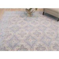 Hand-knotted Wool Blue Traditional Geometric Kotan Rug (8' x 10')