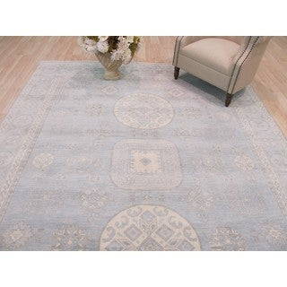 Hand-knotted Wool Blue Traditional Geometric Kotan Rug (8' x 10') - 8' x 10'