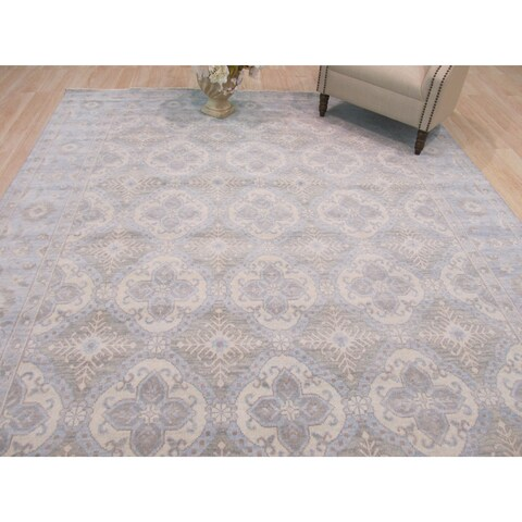 Hand-knotted Wool Blue Traditional Geometric Kotan Rug - 8' x 10'