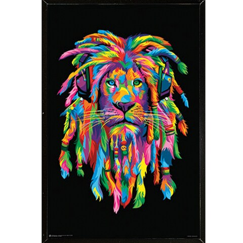 Lion Rasta Multicolored Wood 24-inch x 36-inch Wall Plaque