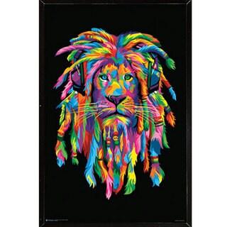Lion Rasta Multicolored Wood 24-inch x 36-inch Wall Plaque