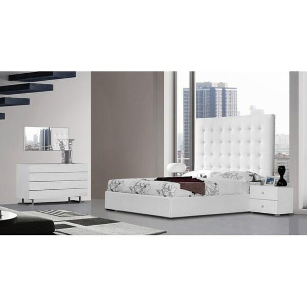 Modrest Lyrica White Leatherette Tall Headboard Bed