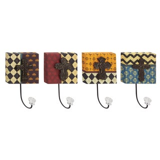 Multicolored Wood/Metal/Acrylic Wall Hooks (Pack of 4)