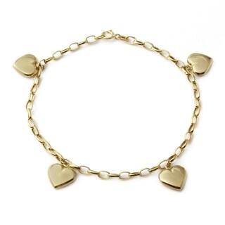 14k Italian Yellow Gold 7.25-inch Dangling Heart Charm Bracelet