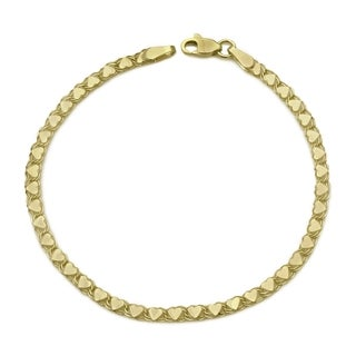 Women's 14k Yellow Gold 7-inch High Polished Heart Bracelet
