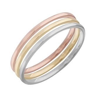 14k Yellow/White/Rose Gold 3-Piece Size 7 Stackable Ring Band