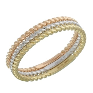 14k Yellow/White/Rose Gold Size 7 Stackable Rings (Set of 3)