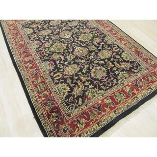 EORC Hand-knotted Wool Black Jaipur Rug (4'3 x 6')