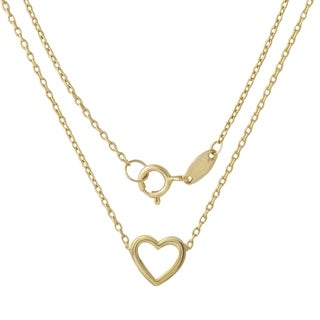 14k Italian Yellow Gold Diamond-cut Rolo Chain Heart Adjustable Necklace