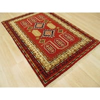 Hand-knotted Wool Red Traditional Oriental Kazak Rug (4'2 x 6'1)