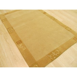 EORC Nepalese Beige Wool Hand-knotted Rug (3'11 x 5'11)
