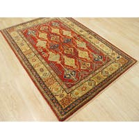 Hand-knotted Wool Red Traditional Geometric Super Kazak Rug (3'6 x 5'1)
