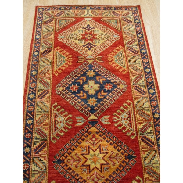 Hand-knotted Wool Red Traditional Geometric Super Kazak Rug (2'8 x 7'5)