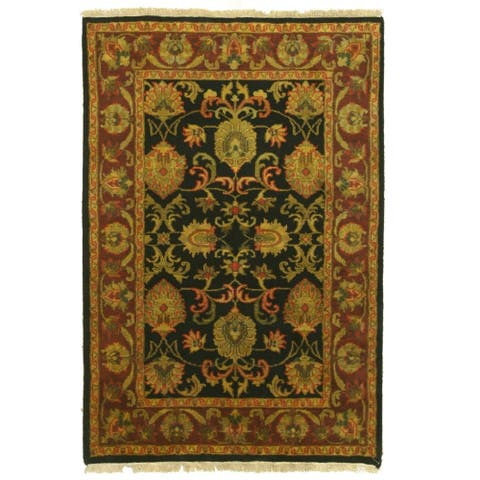 Hand-knotted Wool Black Traditional Oriental jaipur Rug - 4' x 6'