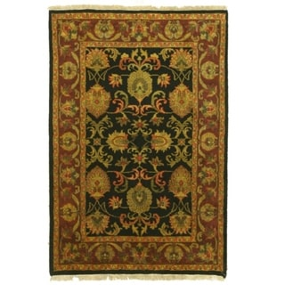 Hand-knotted Wool Black Traditional Oriental jaipur Rug (4' x 5'11)